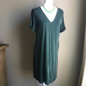 Anthropologie dark green boho shift dress by Dolan